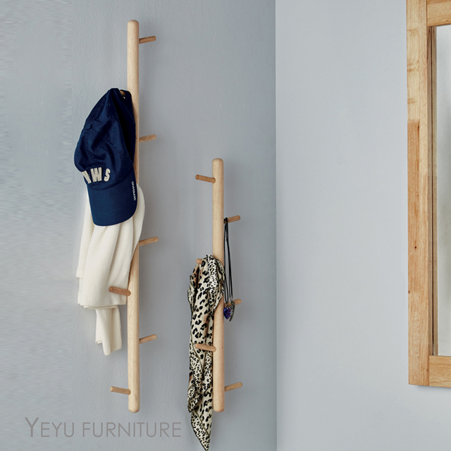 Modern Design Solid Wooden Wall Mounted Coat Rack Hook Coat Hangers New Wall Mounted Coat Rack