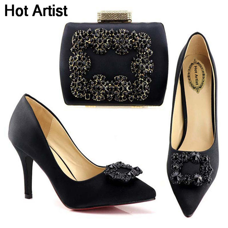 Hot Artist Latest Style African Purple Shoes And Bag Set Italian Rhinestone High Heels Shoes And Bag Set For Party TX-A168