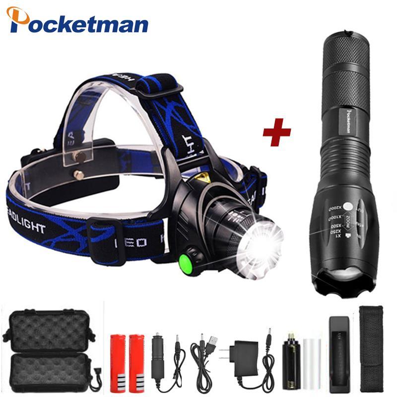 6000LM LED Flashlights T6/L2/V6 LED Flashlight Head light Zoom headlamps use AAA 18650 battery Bicycle Waterproof light