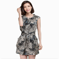 2015 New Arrvial Korean Style Dress Snake Printed Imitation silk Dress robe ete D12