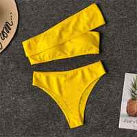 Biquinis Feminino 2019 Mulheres de Biquíni Swimwear Biquini Dividir Irregular Ombro Cintura Alta Biquíni Maiô Trajes De Bano