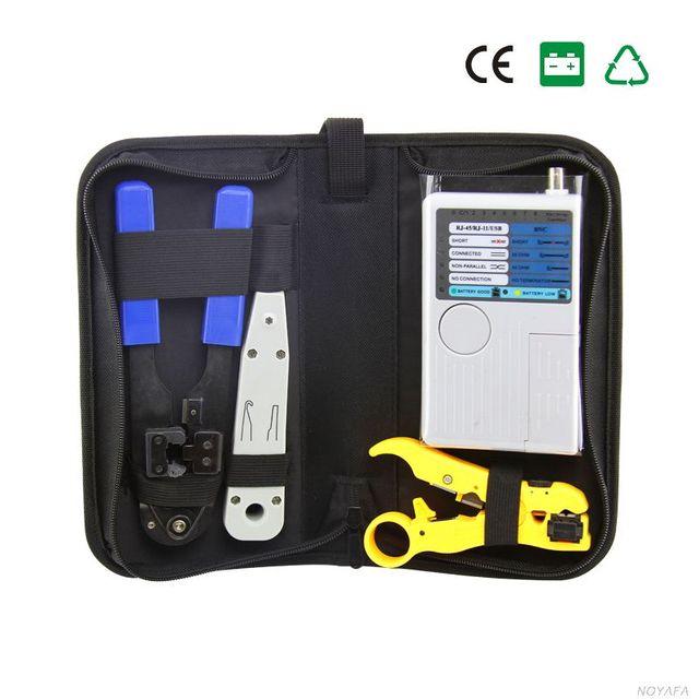 Envío libre, noyafa nf-1202 conjunto de herramientas de red con 4 en 1 cable de red tester-utilizado para verificar fj11/fj45/coaxial/usb cables