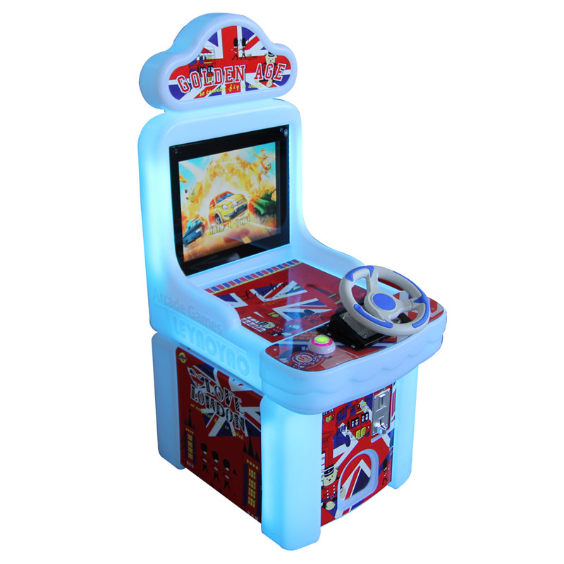 Coin operated kids indoor racing games center equipment arcade game machine play racing car game console with steering wheel