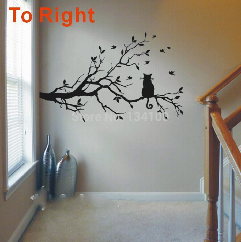 newly one cat on long tree branch diy vinyl wall sticker animals birds wall decal art transfers. Black Bedroom Furniture Sets. Home Design Ideas