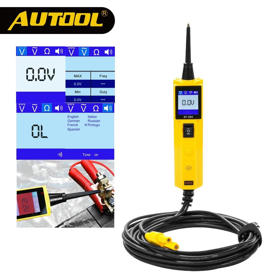 AUTOOL BT260 6-30V Car Battery Tester Diagnostic Tool Electrical System Automotive Vehicle Circuit LED Power Voltage Test Probe цена