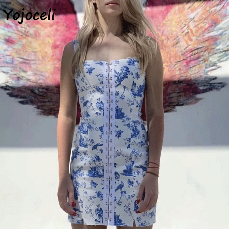 Cuerly 2019 cool square sollar sling dress women party club sundress Blue and white porcelain print mini dresses female vestidos in Dresses from Women 39 s Clothing