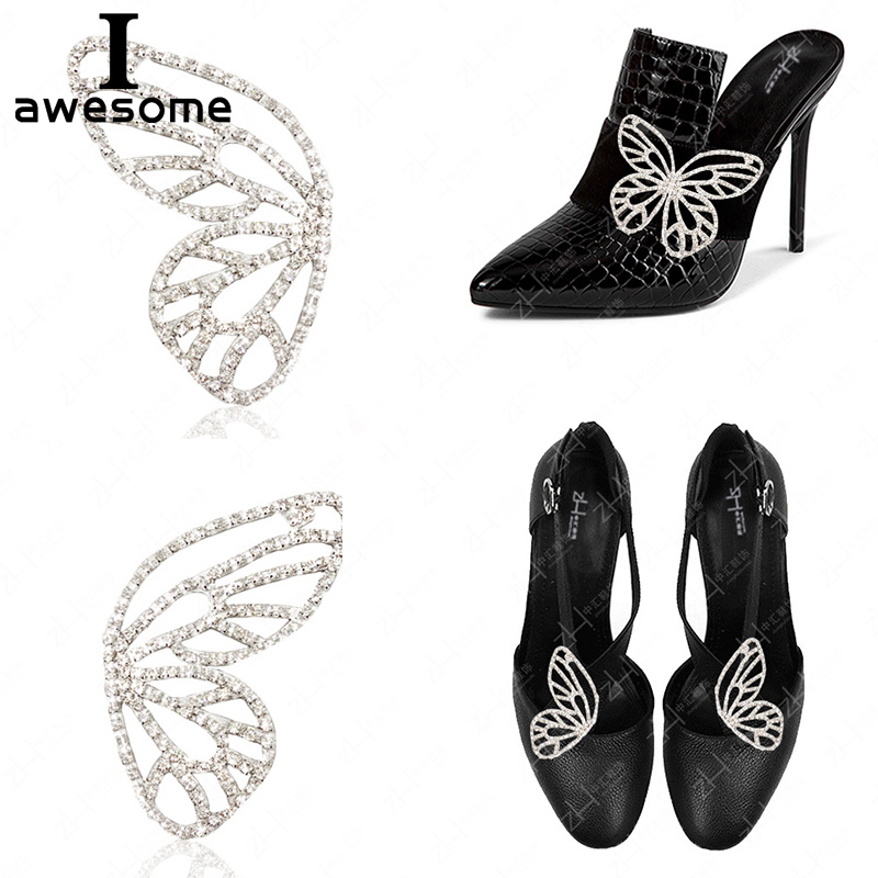 Shoes Accessories For High Heels Sandals Boots DIY Wing Shape Shining Bridal Wedding Party Manual Rhinestone Shoe's Decorations