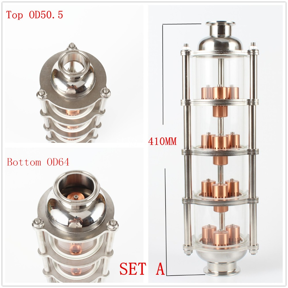 copper bubble Distillation column with 4 sections for distiller Glass column