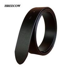 Cinturón de piel auténtica para hombre, hebilla de Pin de alta calidad, 3,3 cm y 3. 8cm, sin hebilla