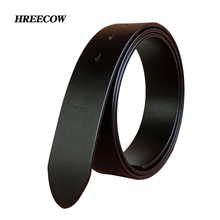 No Buckle 3.3 cm and 3. 8cm Belts for Mens High Quality Pin Buckle Male Strap Genuine Leather Waistband Ceinture Homme