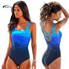 Women Bathing suit Blue Gradient One Piece Swimsuit Plus Size Swimwear Criss Cross Monokini 2019 Beachwear Big