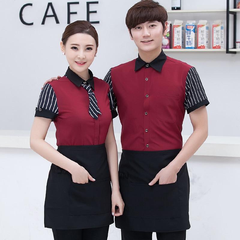 Hotel Uniform Restaurant Summer Short Sleeved Shirt Waiter Front Tooling Female Work Overall Waitress Work Clothes J072