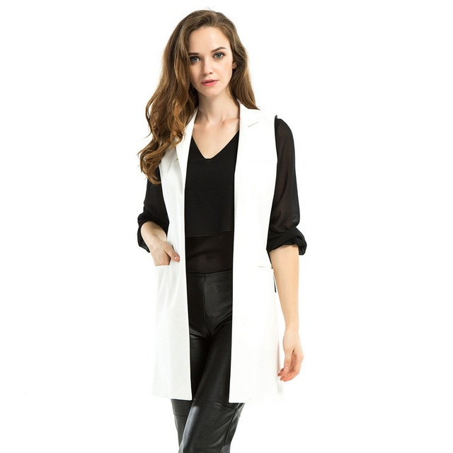 Buy White Back Split Vest Women Sleeveless Blazer Long Waistcoat 2016 ...