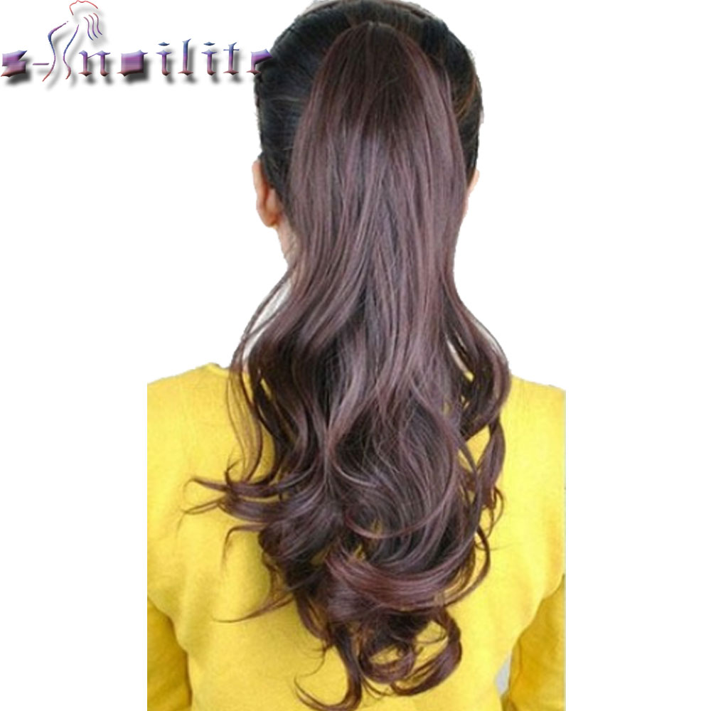 S noilite 18 inches Long Ponytail Clip in Pony tail Hair Extensions Claw on Hair piece