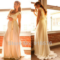 Wedding Dress Sheer Sleeves Gowns 2013 Full Floor Length Dresses Cape A Line Ruched Silk Ribbon