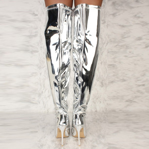 Image 3 - Women Boots Mirror Platform Pointy Toe Punk High Thin Heels Over The Knee Long Boots Autumn Winter Zip Silver Casual Party Shoes