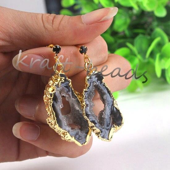 UMY Новый Модный Позолоченные Природных Ломтики Агат Geode Druzy Drusy Серьги Падение Модные Драгоценности