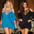 Высший Сорт 3 Цвет Леди Ночной Рубашке Пижамы Женщин Сексуальный Пижамы Плюс Размер Экзотические Платья Глубокий V-образным Вырезом Эротическое Белье Сорочки S6141