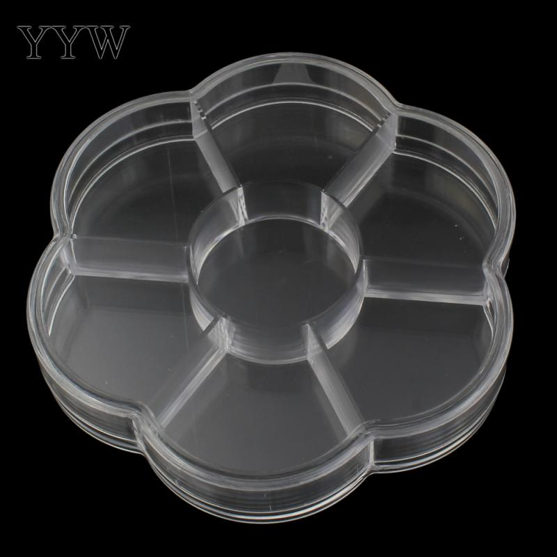 Plastic Flower Disk Jewelry Beads Necklace Bracelet Container 7 Cells 103x103x18mm Sold By PC