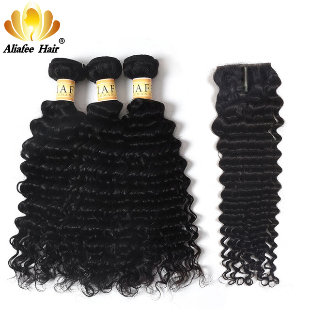 "Aliafee Hair Mongolian Curl Hair Weave Bundles Natural Color Deep Wave Bundles With Closure 100% Human Hair Extension 8"" 28"""