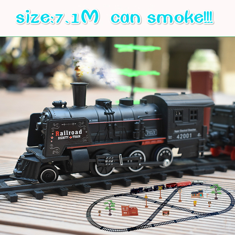 Smokes Classical Model Simulated Electric Track High-speed Train Retro-vintage Steam Toy Track Railway Street View Boy Toys 7.1M
