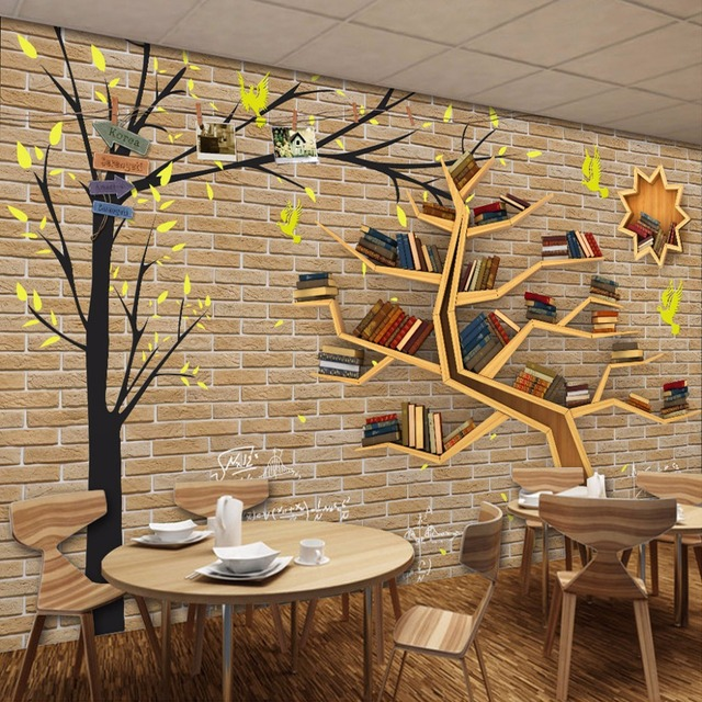 3D Wallpaper Custom Mural Non Woven Modern Fashion Cartoon Big Tree Bookshelf Brick Wall Backdrop