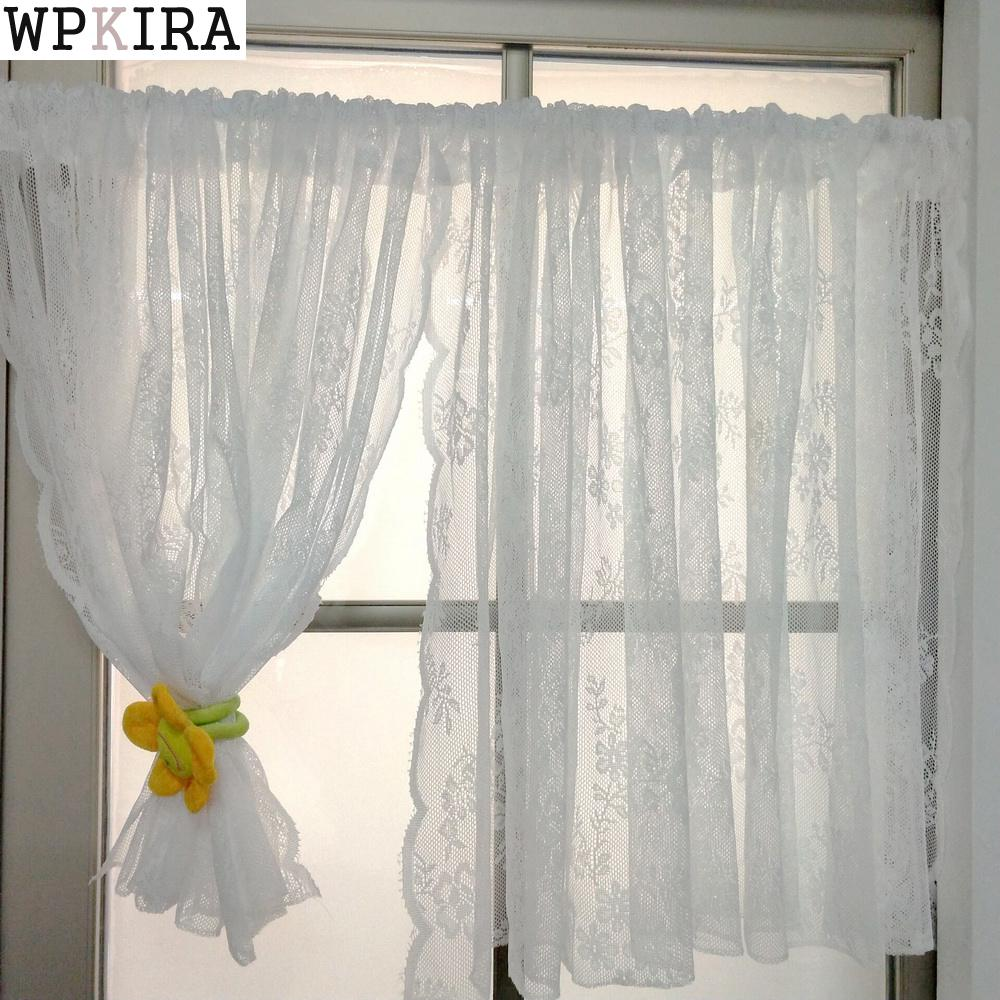 US $5.69  Korean White Lace Short Curtains For Kitchen Valance Pelmet Voile  Curtains for Living Room Bedroom Door Window Blinds ZT136&30-in Curtains ...
