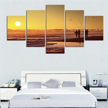 купить Wall Art Poster For Living Room Cuadros Modular Picture 5 Panel Sunset Petrel View HD Print Framework Canvas Paintings Abstract онлайн