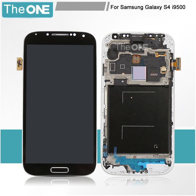 White/Black Display For Samsung Galaxy S4 IV i9500 LCD Screen+Touch Screen Digitizer + Frame+Homebutton Assembly(with logo)