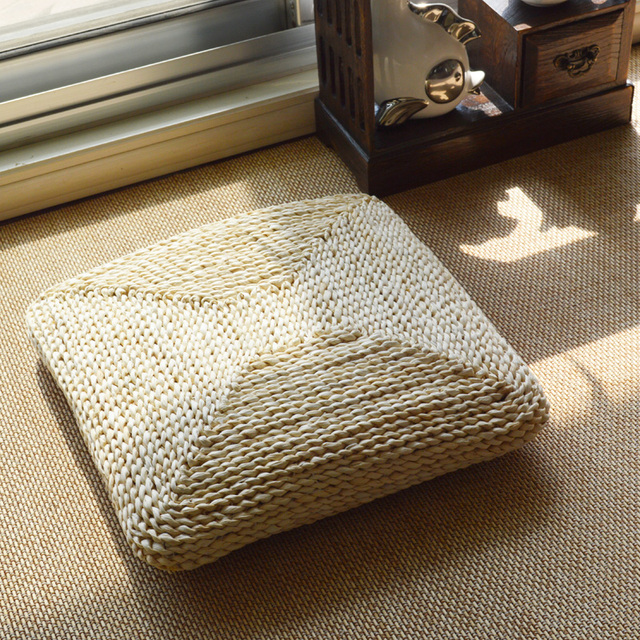 Natural Corn Husk Straw Braid Mat Meditation Cushion Tatami Futon  Thickening Square Chair Cushions Handmade