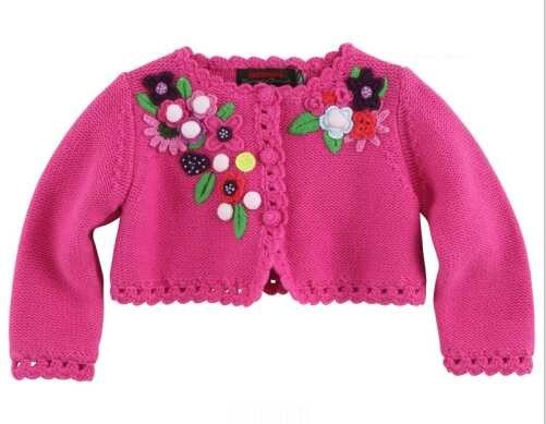 Catimini  2014 autumn  girl printed long sleeve knitwear  cotton tee children's rose red 3-10years sweater coat