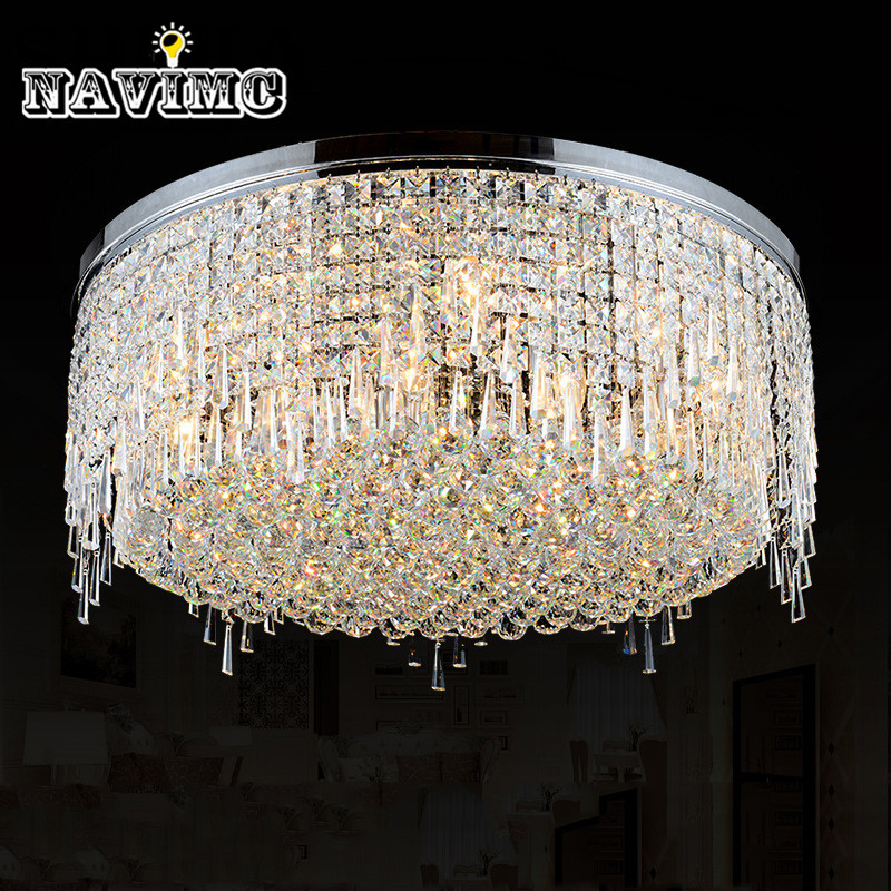 Modern 60 70 90cm Crystal Led Chandeliers Ceiling Lights: Modern LED Shine Round K9 Crystal Ceiling Lights For