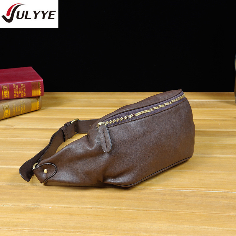 YULYYE New Fashion Men Chest Pack Single Shoulder Strap BackBag Leather Travel Men Crossbody Bags Vintage Rucksack Chest Bag