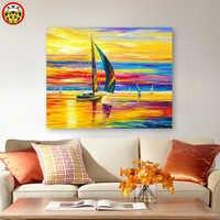 Malerei durch zahlen kunst farbe durch zahl Diy Europäischen sunset segeln landschaft malerei hintergrund wand hand-gemalt füllung de