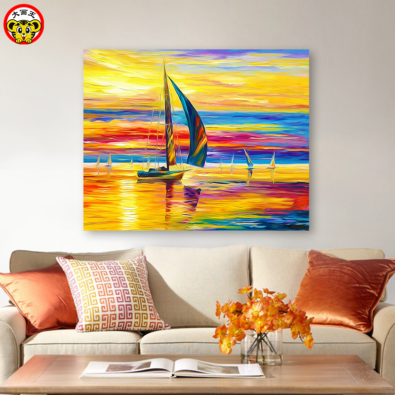 Painting By Numbers Art Paint By Number Diy   European Sunset Sailing Landscape Painting Background Wall Hand-painted Filling De