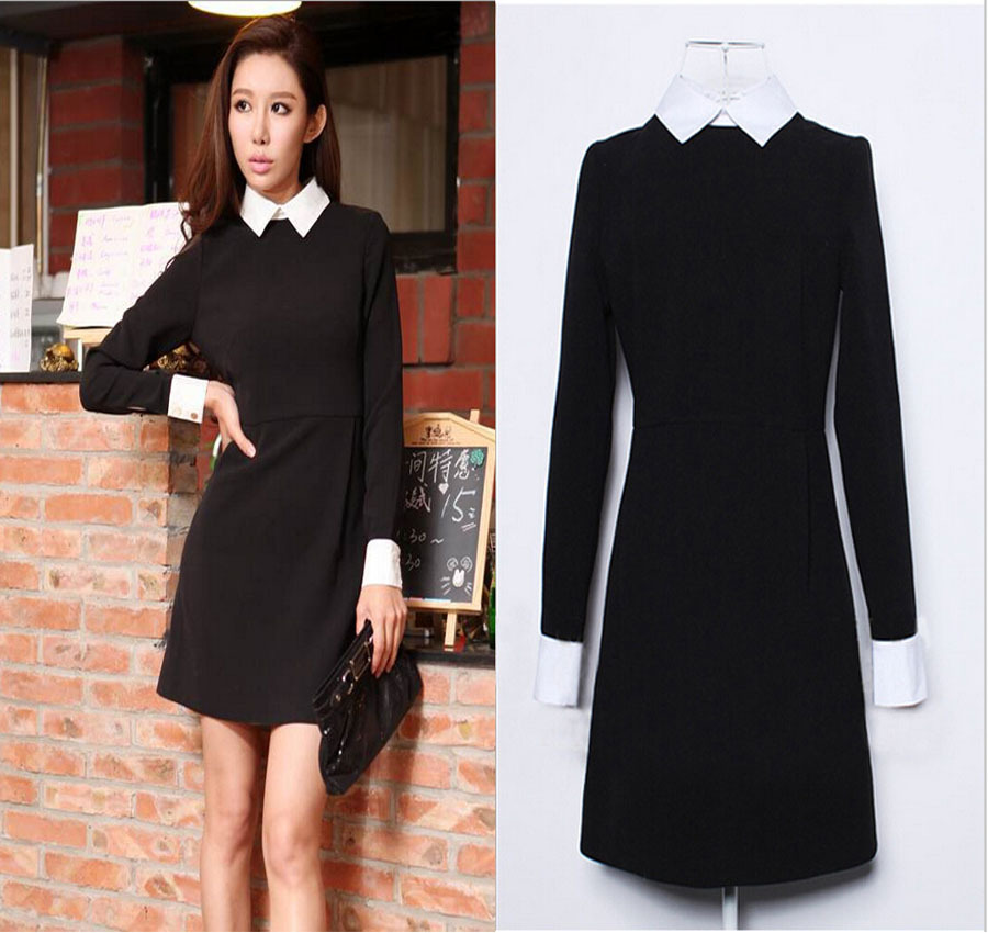 Fashion Victoria Beckham Black Dress White Collar Long ...