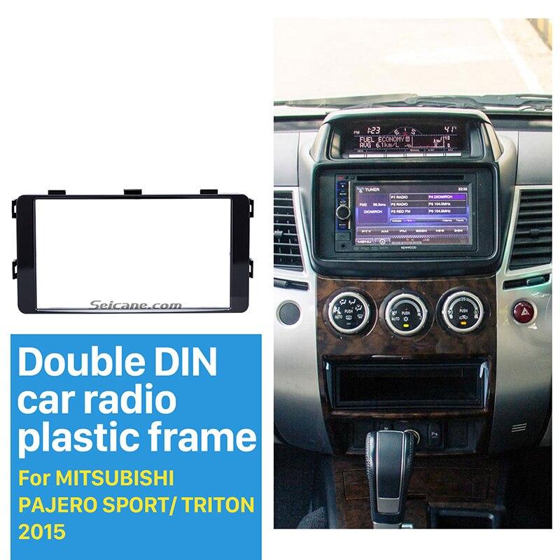 Seicane Fantastic Double Din Car Radio Fascia for 2015 Mitsubishi Pajero Sport Triton Trim Dash CD