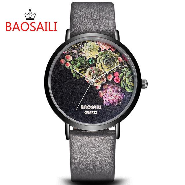 Floral Design Black Case Japan Movement Women's Watch