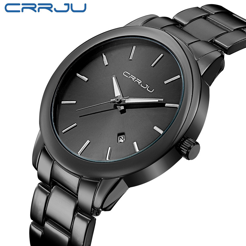 2016 New CRRJU Quartz-watches Black Full Steel Vogue Casual Watch Men Business Male Relojes Hombre Simple Wristwatch Gift