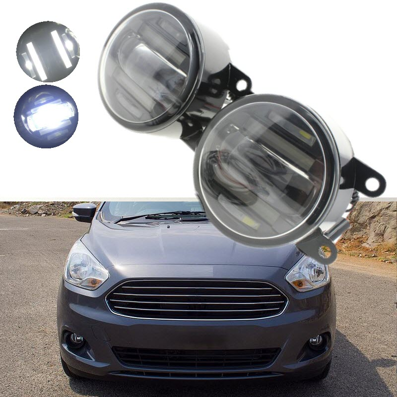 For Ford Figo Ka+ 2015 2016 2 in 1 18W LED Fog Lights White Cut-Line Lens DRL Daytime Running Lights Car-Styling eemrke car styling for opel astra twintop 2006 2010 2 in 1 led fog light lamp drl with cut line lens daytime running lights
