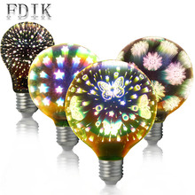 Edison LED Bulb E27 Colorful 3D Decorative bulbs A60 G95 G125 4W Snowflake Butterfly Starry sky Fireworks Effect Dream leds lamp 3d fireworks retro edison bulb 4w e27 g125 led light home bar decor lighting colorful glass globe lamp 420lm ac85 265v