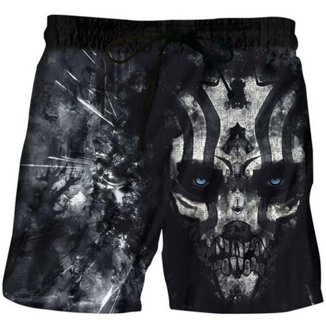 93658414c8 US $14.0 |beach sports swim shorts homme Beach Pants men fast dry  personality skulls print loose Sweatpants Bathing Suit Trunks 2019 -in  Surfing & ...