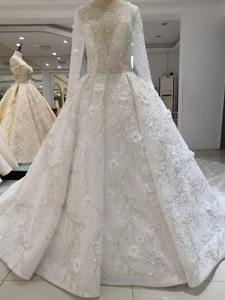 Image 4 - Vestidos דה Novia 2020 ערבית יוקרה חרוזים תחרה חתונה שמלה ארוך שרוול 3D פרחוני חתונת כלה שמלות robe דה mariee