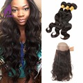 360 Lace Frontal With Bundle Peruvian Body Wave With Closure Peruvian Virgin Hair Extensions With Baby Hair Natural Hairline
