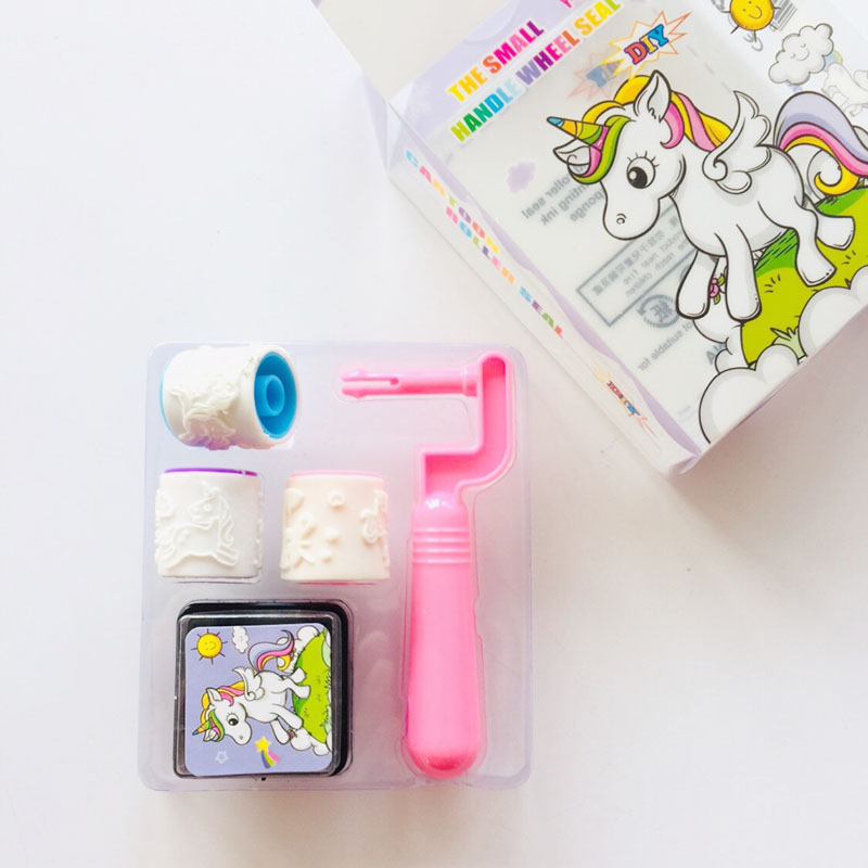 Creative 1 Set 3+1 Unicorn DIY Wheel Seal + Inkpad Cera Paste For Seals Scrapbooking Craft Children Toy