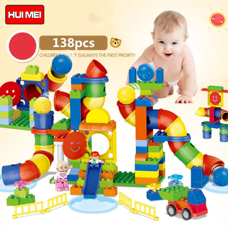 HM132 138pcs large particles Building Blocks Amusement park slid without box Compatible With Legoe Duploo Toys toys for children without original box bang bao fight inserted building blocks toys concrete mixing small particles base 8531 808pcs abs plastic