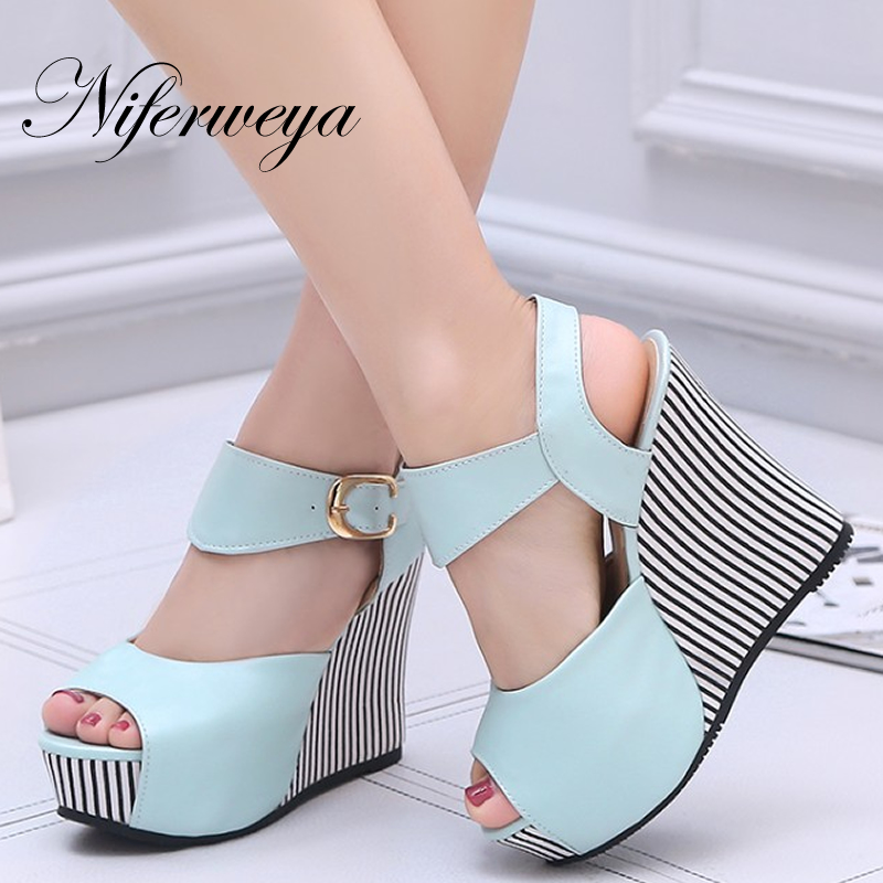 Summer big size 32-45 women Platform shoes sexy 12 cm Peep Toe Buckle Strap Wedges high heel sandals zapatos mujer summer shoes woman platform sandals women soft leather casual peep toe gladiator wedges women 7cm high heel shoes zapatos mujer