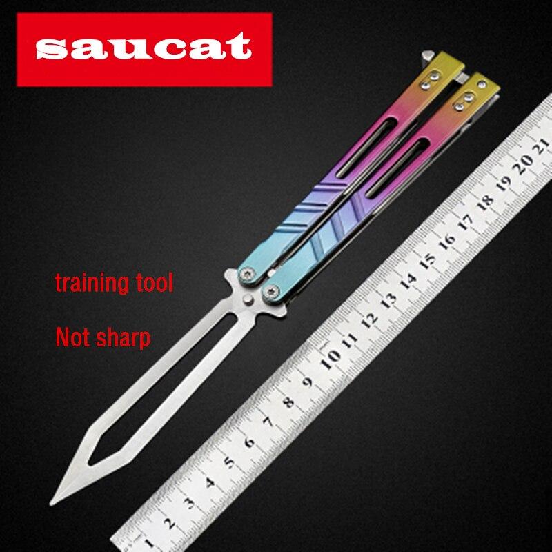 Saucat Desperado AB papillon couteau SRLB Replicant pliant Couteau Avec gaine K pratique outil formateur peigne