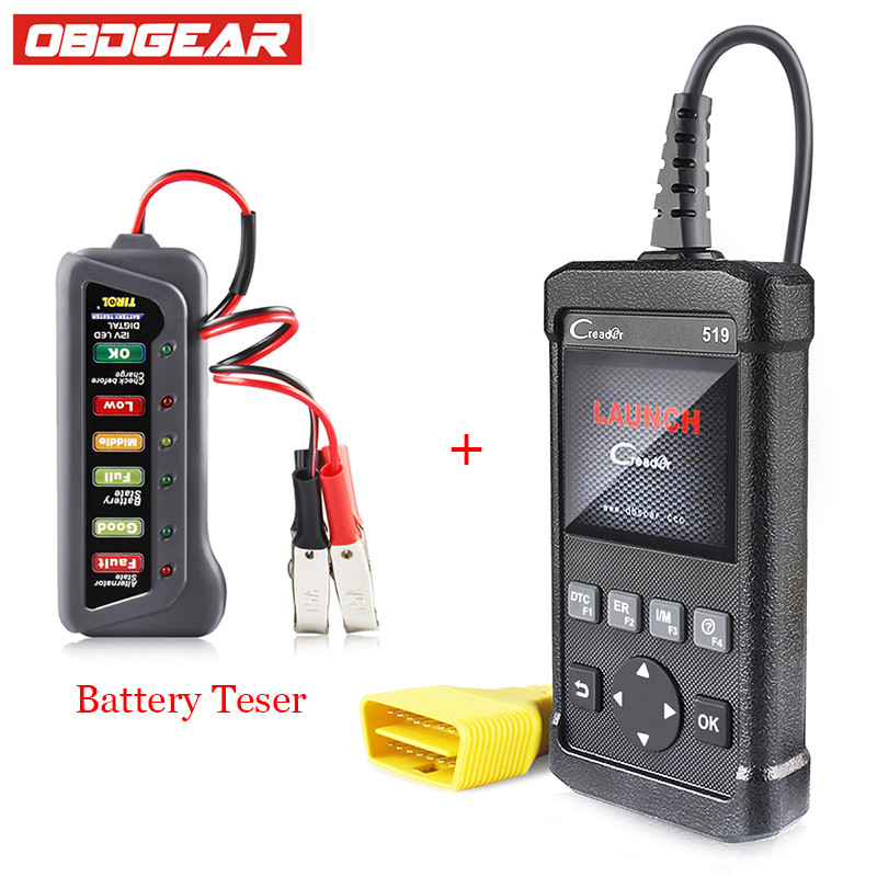 Best OBD2 Scanner Launch Creader CR519 Full OBD2 Function Auto Diagnostic Scanner Better Than AL519 With Battery Tester As Gift original autel maxitpms ts501 with obd2 adapters tpms diagnostic