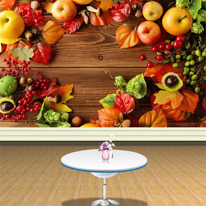Custom Photo Wallpaper Country Style Fresh Fruit Background Wall Supermarket Fruit Shop Living Room Decoration Wallpaper Mural